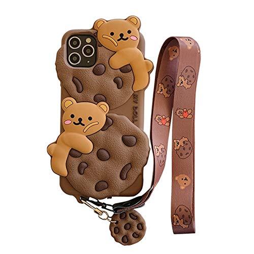 SGVAHY Capa criativa compatível com iPhone 11 Pro Max, capa divertida em forma de biscoito de desenho exclusivo 3D de silicone macio à prova de choque (iPhone 11 Pro Max, Bear Cookie)