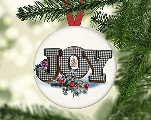 Alicert5II Buffalo Plaid Weihnachtsdekor Bauernhaus Weihnachtsschmuck Weihnachtsschmuck rustikalen Land Weihnachtsschmuck Joy ORNFH7