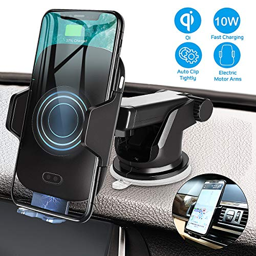 Wireless Car Charger Mount,Vikano Automatic 10w Qi Fast Charging Car Phone Holder Air Vent&Dashboard Compatible with iPhone Xs/Xs Max/XR/X / 8/8 Plus, Samsung Galaxy Note 9/ S9/ S9+/ S8/ S8+ (Black)