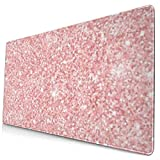 Pink Glitter Design Pattern XXL XL Large Gaming Mouse Pad Mat Long Extended Mousepad Desk Pad Non-Slip Rubber Mice Pads Stitched Edges (29.5x15.7x0.12 Inch)