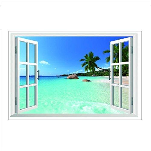 WINOMO créatrice de pared pegatina 3d falsa ventana playa mar fondo extraíble de pared adhesivo para Living Room Home Decor