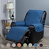 STONECREST Classic Home Decor, Inc Sofa Protector with Pockets and Elastic Straps Reversible, Microfiber Water Resistant Slipcover Anti-Stain Pet Sofa Covers (Denim Blue/Grey, 25' Recliner)