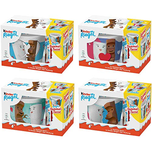 Ferrero Kinder Sammeltasse Sammlerpack (4 St, alle 4 Motive) + usy Block