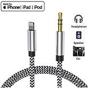 AUX-Kabel für iPhone 3,5-mm-Kopfhörer AUX-Kabel für das Auto AUX-Kabel zum 3,5-mm-AUX-Adapter Kompatibel für iPhone XS/XR/8/7 Plus zum Autoradio/Lautsprecher Unterstützung iOS 13-schwarz, 1M/3.3 ft
