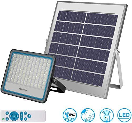 Faro LED da Esterno 100W 6000k Bianco IP67 Impermeabile Freddo con Telecomando Pannello Solare Fotovoltalco Energia