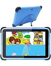 Barnsurfplatta 7 tums WiFi Android 10 surfplatta PC IPS HD-skärm, 2 GB RAM 32 GB ROM, barnsäkringstablett för barn, barnlärobricka barnsäkert fodral med stativ (blå)