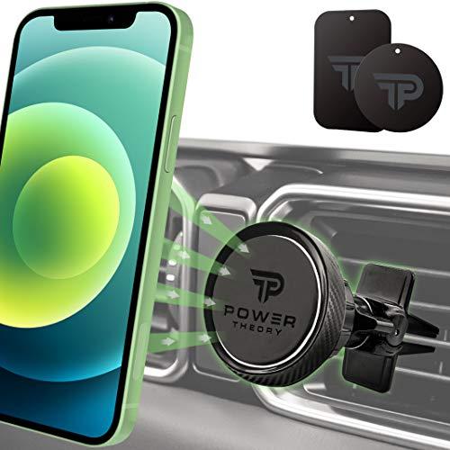 Power Theory Magnet Handyhalterung Auto - KFZ Handyhalter in Carbon Optik mit Stärkeren Magneten und verbesserter Klemme für iPhone 12 11 Pro Max XS X XR SE2 8 Plus 7 6 6s Samsung S20 S10+ S9 S8 S7 S6