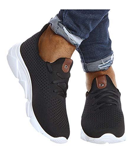 Leif Nelson Herren Schuhe für Freizeit Sport Freizeitschuhe Männer weiße Sneaker Sommer Coole Elegante Sommerschuhe Sportschuhe Weiße Schuhe für Jungen Winterschuhe Halbschuhe LN205 42 Schwarz