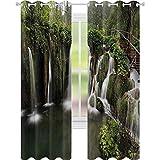Cortinas térmicas aisladas, con forma de cascadas en Crotia, Europa con un puente de madera rústica, 52 x 108, cortinas de ventana para sala de estar, verde y marrón