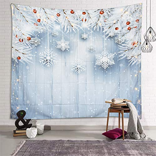 Sevendec Christmas Tapestry Wall Hanging Xmas White Snowflakes Leaves Board Wall Tapestry for Party Livingroom Bedroom Dorm Home Decor W59' x L51'
