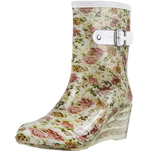 Wealsex Mujer Cuñas Cuatro Estaciones Moda Botas De Lluvia Transparente Zapatos De Agua Cremallera Lateral con Hebilla Antideslizantes Botas Impermeable
