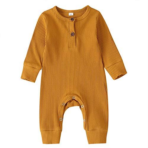 Baby Jungen / Mädchen Strick-Strampler / Overall / Bodysuit / Einteiler / Pyjama, Gerippte Outfit Kleidung, Orange, 6-9 Monate (Herstellergröße: 80)