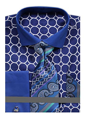 Men's Circle Pattern Printed Tone on Tone Dress Shirt with Tie Handkerchief and Cufflinks - Blue 18.5 3435