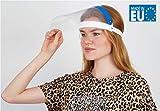 Fredo® Gesichtsschutz - Aufklappbar Visier aus Kunststoff, CE-geprüft & zugelassen - Face Shield - Gesichts Schutzschild mit verstellbarem Gummiband für Männer Frauen - Blau- Made in Europe