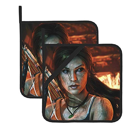 Lara Croft Tomb Raider - Guantes de horno resistentes al calor, doble soporte para horno con diseño antideslizante de silicona para el hogar y la cocina, cubierta aislada (juego de 2)