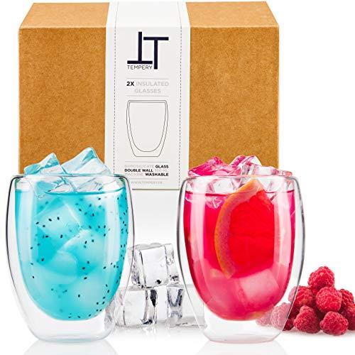 Tempery ✮ Doppelwandige Gläser/Latte Macchiato Gläser/Cappuccino Tassen - 350ml - Set aus 2 Doppelwandige Trinkgläser - Original Teegläser & perfekt Geschenk für Jede Gelegenheit