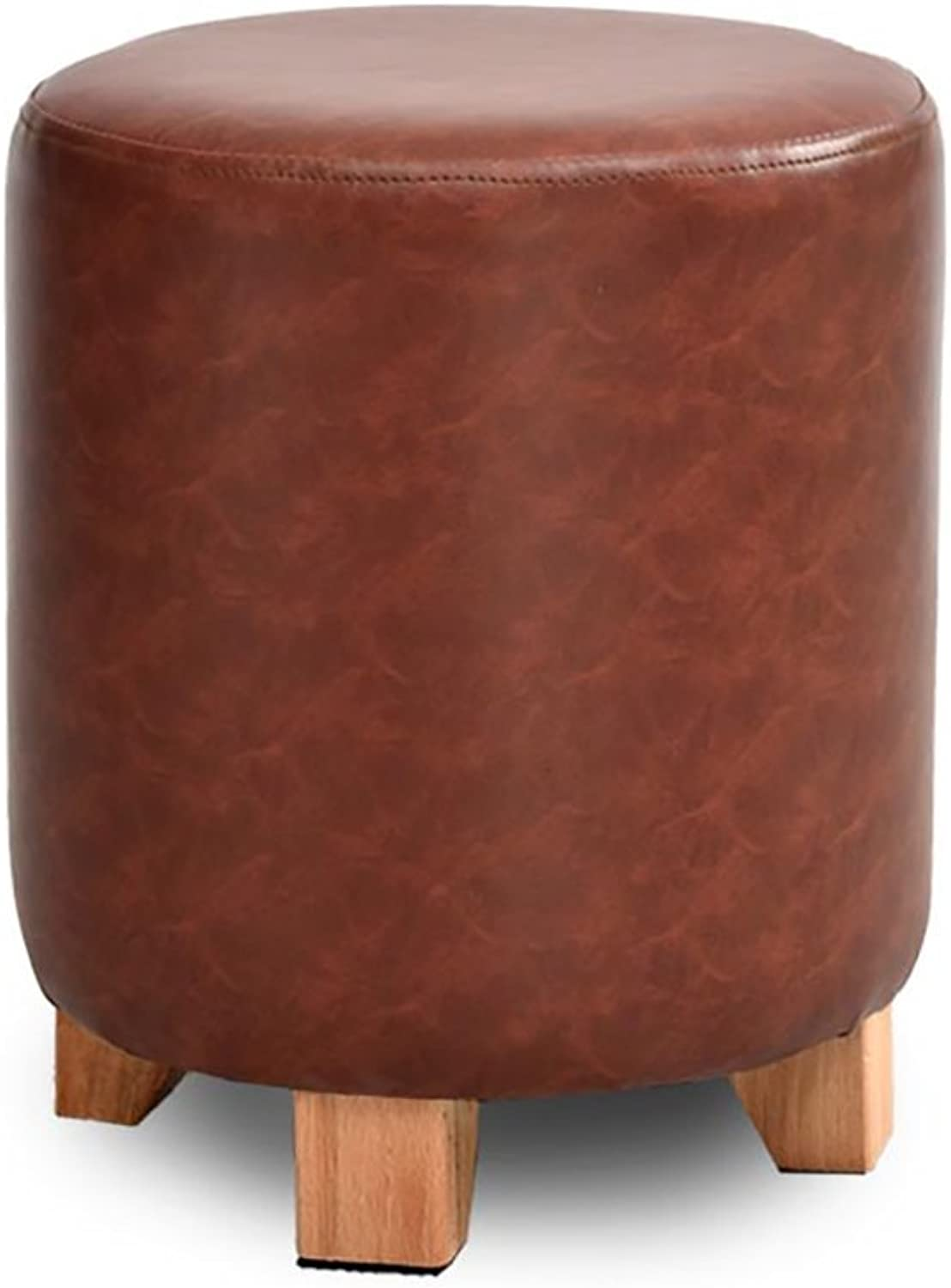 Solid Wood Leather Stool Sofa Stool Small Stool, Dressing Stool Stool shoes Bench Solid Wood Frame Durable, Multi-color Optional