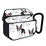Shockproof Portable Protective Hard Printing Pattern Cover Case with Carabiner Compatible with AirPods Pro/Cute Pattern with Cartoon French Bulldog in Pink Glasses