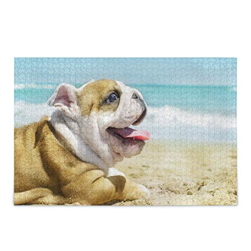 ALAZA Jigsaw Puzzle 500 Piece, English Bulldog Puppy at The Sea Large Educational Intellectual Decompression Puzzle Game Home Wall Artwork for Adults Teens
