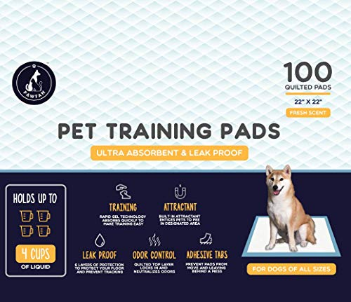 PawFam Fresh Scent Puppy Dog Pet Training Pads, 6-Layer Protection, Adhesive Tabs, 100 Count- 22'x22'