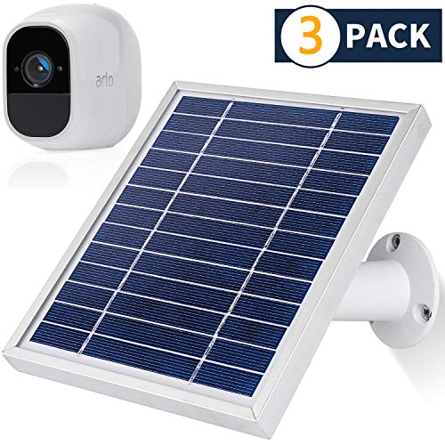 iTODOS 3 Pack Solar Panel Compatible with Arlo Pro 2, 11.8Ft Outdoor Power Charging Cable and Adjustable Mount,Not for Arlo Ultra and Arlo Pro3(Silver)