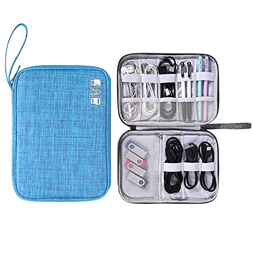 Muyasea Electronics Organizer Portable Electronic Accessories Cases for Cables Laptop Charger Bigger Power Bank USB Phone Flash Drive iPad Mini C-Blue