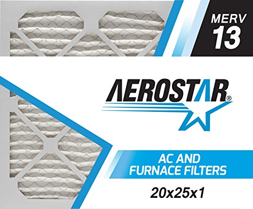 Aerostar - P25S.012025-6 Home Max 20x25x1 MERV 13 Pleated Air Filter, Made in the USA, Captures Virus Particles, 6-Pack
