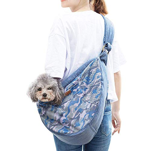 HAPPY HACHI Tragetuch Hund Katze Hundetrage Schultertasche aus Oxford Nylon Gepolstert Schleuderträger Single Verstellbare mit doppelt Reißverschluss für Haustier (Blau)