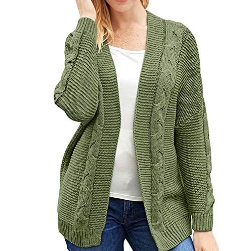 Mid-Length Sweater Jacket Women Winter Long-Sleeved Cardigan Sweater Green
