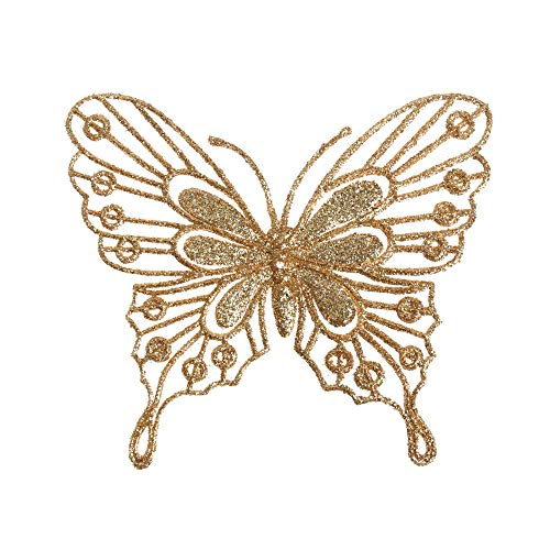Home Decor Glitter Artificial Flower DIY Crafts Christmas Butterflies Xmas Tree Ornaments Single Layer Gold Powder(Champagne)