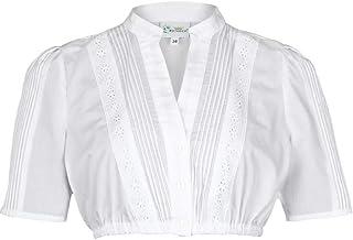 Trachten Stoiber Damen Dirndl Bluse V-Ausschnitt weiß, WEIß, 36