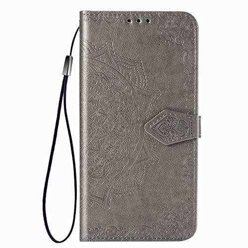 Fertuo Hülle für Realme 5 Pro, Handyhülle Leder Flip Hülle Tasche mit Kartenfach, Magnet & Standfunktion [Mandala Blume Muster] Handy Schutzhülle Ledertasche für Realme 5 Pro, Grau
