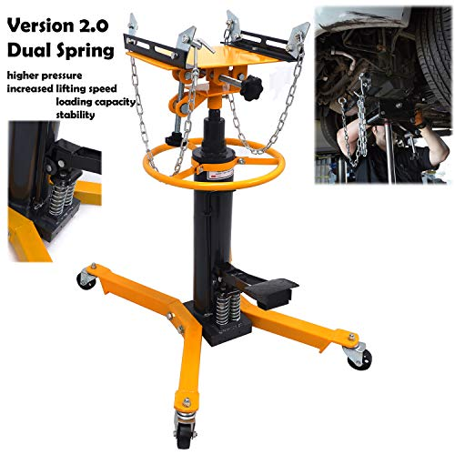 """HTTMT- 34"""" To 73"""" Professional Dual Spring Hydraulic Transmission Jack Car Lift 1300 lbs/ 0.6 Ton 2 Stage Dual Spring [P/N: ET-CAR-FIX004-0.6T-YELLOW]"""