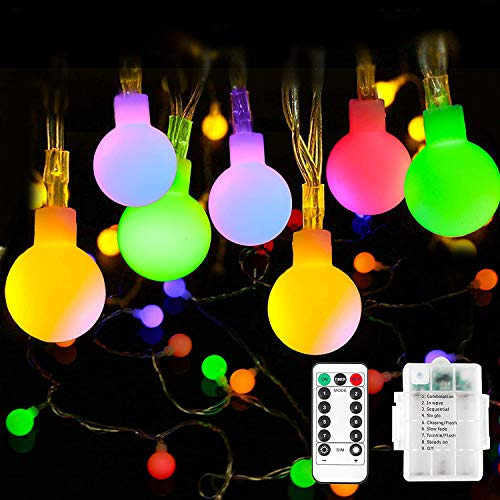 LED String Lights, 12 M 100 LED Globe Lights 8 Modes Waterproof Battery Operated Fairy Light for Party, Gazebo, Holiday Wedding Bedroom (Multicolored-Style2)
