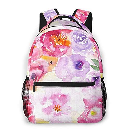 Mochila de impresión de flores de impresión portátil impermeable antirrobo casual mochila bolsa USB puerto de carga mochila unisex