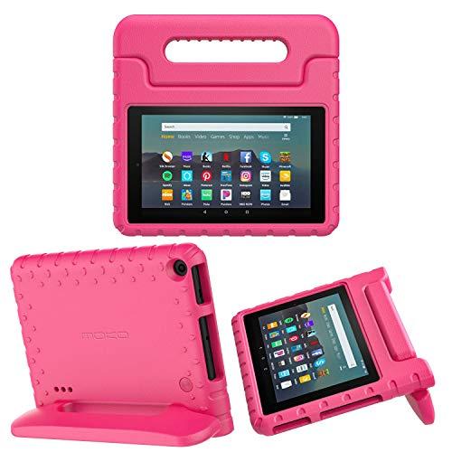 MoKo Funda Compatible con Kindle Fire 7 Tablet (9th Generation - 2019 Release), Ligero y Degado Protector a Prueba de Los Golpes con Asa Portátil para Niña Cover Case - Magenta