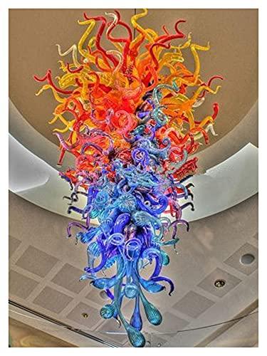 YSJJJBR Lámpara Colgante Lámpara de Cristal de Cristal Moderno Grande araña de...