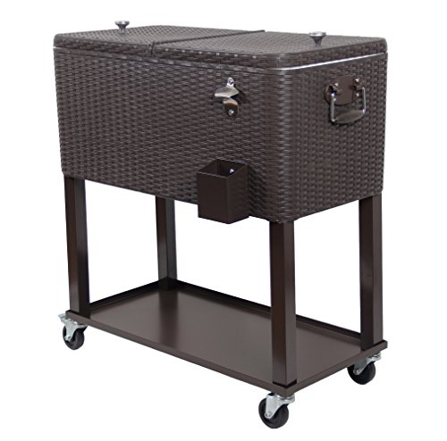 UPHA 80 Qt Outdoor Patio Rolling Cooler Ice Chest with Shelf, Brown Wicker-2