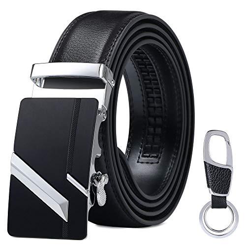 flintronic Herren Gürtel,Hochwertiges Leder material Ratsche Automatik Gürtel für Männer Ledergürtel Breite 3.5cm Länge 139CM-Schwarz (inkl Schlüsselbund & Geschenkbox)
