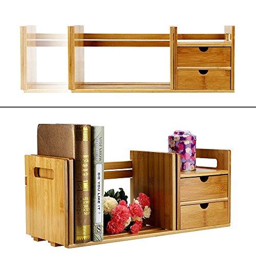 Organizador de escritorio de bambú, extensible, estante de escritorio con dos cajones para oficina y regalo para el hogar