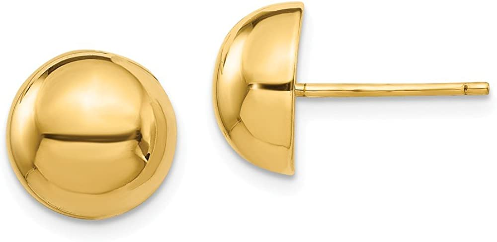 14K Yellow Gold Polished 10mm Half Ball Post Earrings