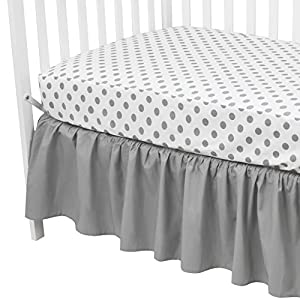 crib bedding and baby bedding american baby company 100% cotton percale standard crib and toddler mattress bundle, gray dots fitted sheet and skirt, for boys and girls