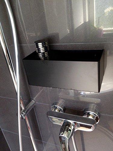 Weller Duschkorb schwarz ohne Bohren selbstklebend Duschablage Loft Bad WC
