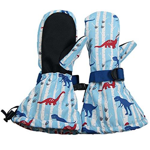 Twinklebelle Design Inc. JAN & JUL Wasserdichte bleib dran Fäustlinge für Babys Kleinkinder und Kinder(S:2-4Y, Mit Daumen: Blau Dinosaurier)