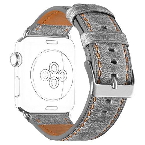 DaGeLon retrò Cinturino per Apple Watch 44mm Serie 5 Series 4 42mm Series 3 2 1, Robusta Pelle Bracciale Cinghia Ricambio Cuoio Cinghie Sostituzione per iWatch Sport Edition Nike+ Hermes, Grigio