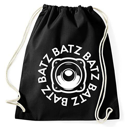 Styletex23 Batz Free Tekno Music Bass Stoff Turnbeutel, schwarz