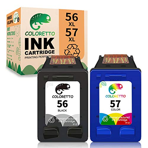 COLORETTO Cartucho de Tinta Remanufacturado para HP 56 57 (1 Negro,1 Tricolor) Compatible con 1210 1215 1216 1315 1350 2105 2110 2175 2210 4212 4215 4255 5150 5550 7260 4105 4110xi Impresoras