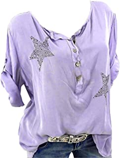 d829e2e8df3bcc Bluse Damen Herbst Shirt Knopf Fünfzackigen Stern Hot Drill Tops Oberteil  Langarm 3/4 Ärmel