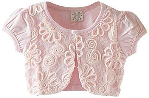 Honey baby ガールズ女の子 ボレロ カーディガン 半袖 子供 女の子 用 ホワイト ピンク 薄手 柔らか カーデ 女の子 フォーマルキッズ フォーマル ドレス 可愛い発表会 入園式 結婚式 パーティー (110cm ピンク)