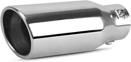 AUTOSAVER88 1.5-2.0 Inch Adjustable Inlet Exhaust Tip, Chrome Polished Stainless Steel Exhaust Tip, Bolt On Design.
